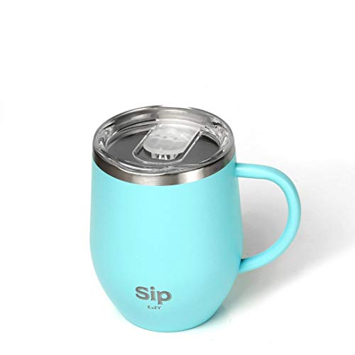 TURQUOISE Double Walled Stainless Steel Insulated MUG/CUP with HANDLE & LID 12oz- Keeps Drinks Hot or Cold for many hours - COFFEE, TEA, BEER, WATER, WINE - Free Silicone Straw & Cleaning Brush