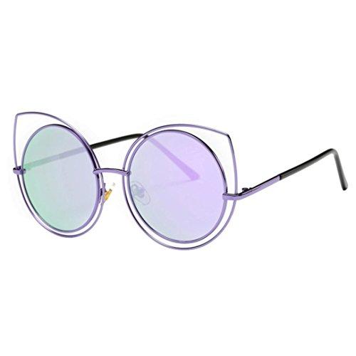 Lunettes de Soleil Ansenesna Unisex Chat Couleur des yeux Frame Film UV400 protection Lunettes de soleil de femme Violet
