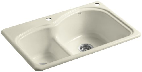 Woodfield Cast Iron Kitchen Sink - Kohler K-5839-2-FD Woodfield Smart Divide Self-Rimming Kitchen Sink with Medium/Large Basins and Two-Hole Faucet Drilling, Cane Sugar