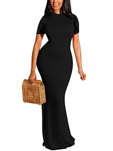 GOBLES Women's Sexy Short Sleeve Elegant Bodycon Party Mermaid Maxi Dress Black
