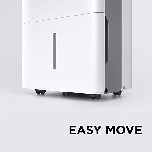 MIDEA MAD35C1ZWS Dehumidifier 50 Pint with Reusable Filter, Ideal for basements, bedroom, bathroom, with bucket of 1.6 gallon, Pint (35 Pint New DOE), white