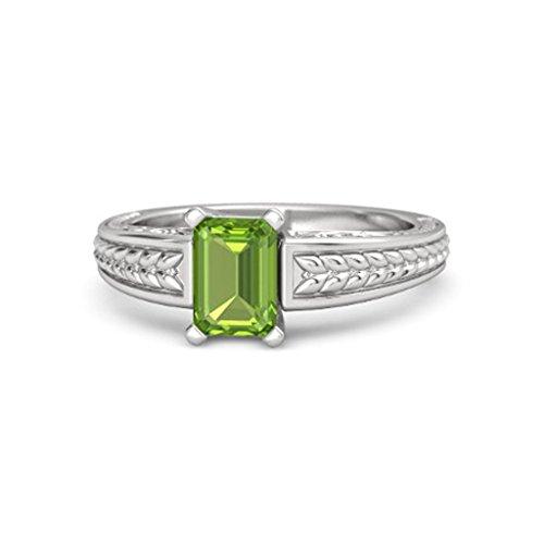 Emerald Cut Peridot Solitaire Ring - 8