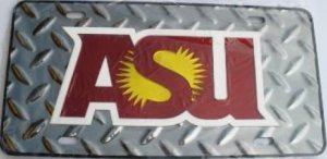 Arizona State Sun Devils ASU Silver Diamond Laser License (Arizona State Diamond Plate)