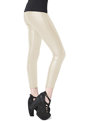 Stella Elyse Faux leather Leggings with Side Knit Panel Beige ()