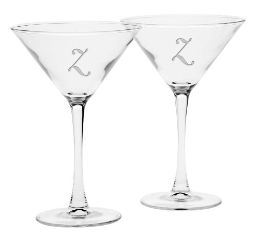 Culver Deep Etched Martini Glass, 7-1/4-Ounce, Monogrammed Letter-Z, Set of 2 by Culver