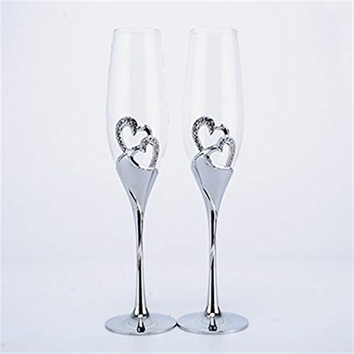 New Heart Shape Sliver Champagne Flutes Wedding Toasting Glassware 200ml Champagne Glass Metal Stand Wedding Gifts Wine Golets (Capacity : 101-200ml, Color : 2 pcs)