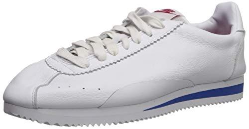 Nike Mens Classic Cortez Premium Running Shoes Swooshless, White/White-Varsity Red Size 10 US
