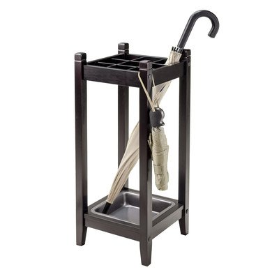 Andover Mills Freestanding Umbrella Stand Made w/ Solid Wood in Espresso Finish 25.98'' H x 11.02'' W x 11.02'' D in.