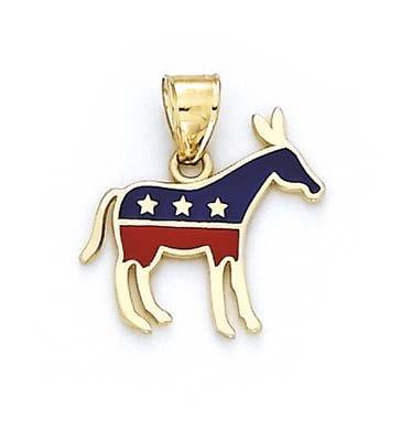 - 14k Yellow Gold Enamel Donkey Democrat Pendant