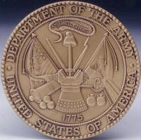 US Army Solid Brass Attachable Medallion for Flag Cases & Pedestals & Shadow Boxes & flat surfaces Official Authorized Army Logo Engraved Military Insignia with raised 3D texture (Shadow Box Logo Display Case)