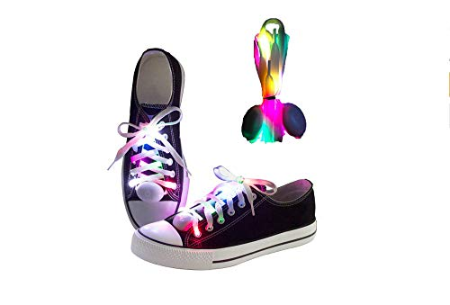"""3 Styles Nylon 41"""" Free Size LED Shoe Lace Light Up 5 Colors Shoe Straps, Glowing Shoelaces for Adult & Kids, Glitter Boot Lace"""