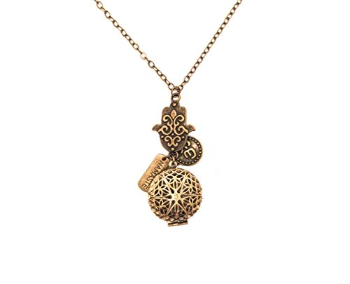 Hamsa Namaste and Om Bronze-tone Brass Tone Charms Aromatherapy Necklace Essential Oil Diffuser Locket Pendant Jewelry w/reusable felt - Metal Bronce