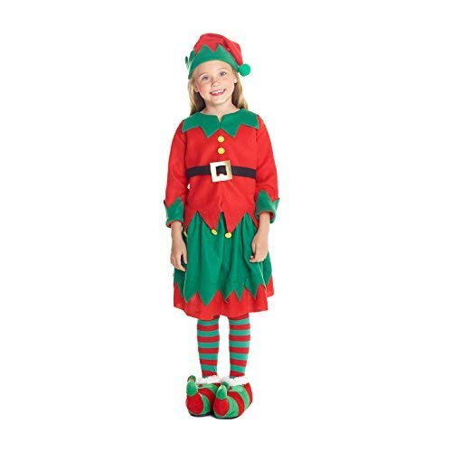 Morph Girls Christmas Elf Costume Toyshop Santas Little Helper Kids Festive Outfit - Large (Age 9-11) Red -