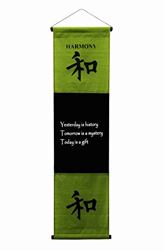 - G6 Collection Inspirational Wall Decor Harmony Banner Large, Inspiring Quote Wall Hanging Scroll, Affirmation Motivational Uplifting Art Decoration, Thought Saying Tapestry Harmony (Green Dark Lime)
