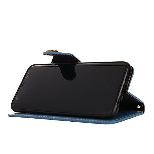 MEIRISHUN Leather Wallet Case Cover Carcasa Funda con Ranura de Tarjeta Cierre Magnético y función de soporte para Samsung Galaxy S8 - Negro Azul