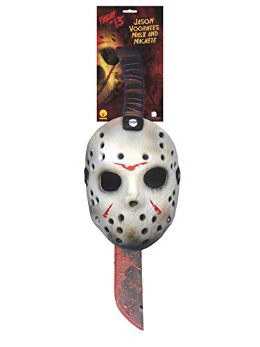 Rubie's Men's Friday The 13th: Jason Mask and Machete Set, As Shown, One Size -