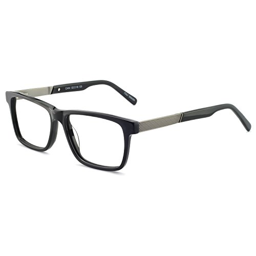 OCCI CHIARI Men's Eyeglasses Frame Non Prescription Fashion Eyewear Wide Computer Glasses with Clear Lense Black