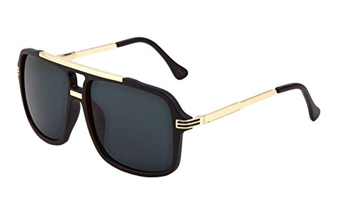 Evidence Metal & Plastic Hip Hop Flat Top Aviator Sunglasses (Black & Gold Frame, - Glasses Top Frames For Men