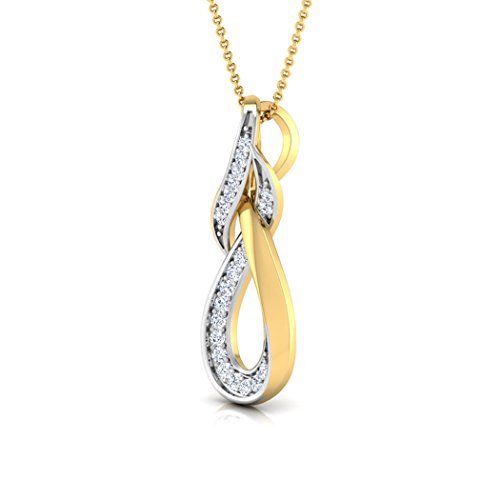 18 K Or Blanc 0.09 CT TW Round-cut-diamond (IJ | SI) Pendentif
