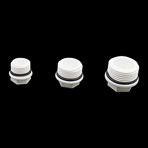 Kammas 1/2'',3/4'',1'' Screw Plug Male Thread PVC Pipe End Caps Hole Seal Stoppers Garden Irrigation Pipe Fittings 50 Pcs - (Diameter: 1/2'', Color: White)