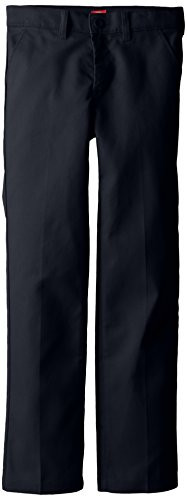 Dickies Big Girls' Slim Stretch Flat Front Pant, Dark Navy, 10 Regular (Slim Girls Flat Front)
