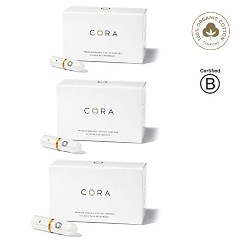 - Cora Organic Cotton Non-Applicator Tampons; Chlorine & Toxin Free - Variety Pack - Regular/Super/Super Plus (54 Count)