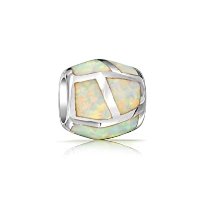 Bling Jewelry Synthetic White Opal Inlay Barrel Bead Charm 925 Silver get discount