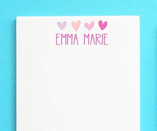 Amazon Com 4 Hearts Personalized Notepad Set For Girls