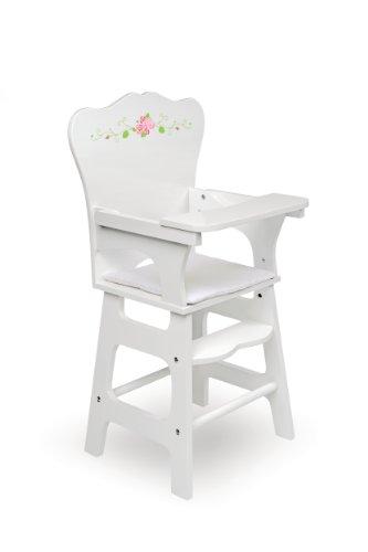 Badger Basket White Rose Doll High Chair (fits American Girl dolls), White -