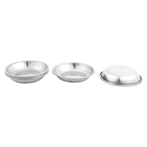 DealMux Metal Home Round Tableware Soy Wasabi Sauce Edible Oil Dish Bowl 6 Pcs Silver Tone - 3.5' Dipping Bowl