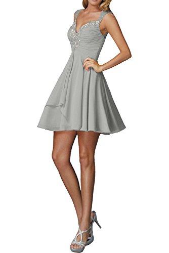 Cocktailkleider La Marie Silber Chiffon Braut Ballkleider Abendkleider Kurzes Rock Traeger Mini Damen Pfirsisch XUBwU6
