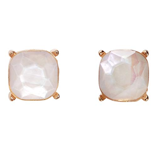 - Humble Chic Faceted Simulated Pearl Square Stud Earrings Cushion Cut Statement Post Ear Studs, Simulated Mother-of-Pearl, White, Cream, Gold-Tone