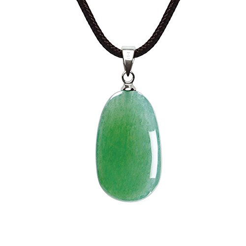 Jade Gemstone Necklace (iSTONE Unisex Healing Gemstone Necklace Crystal Green Pendant Necklace with 16