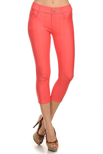 ICONOFLASH Women's Stretch Capri Jeggings - Slimming Cotton Pull On Jean Like Cropped Leggings - Regular and Plus Size (Coral, Large) 817JN201CORL -
