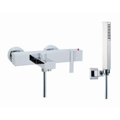 Brick Chic Wall Mount Thermostatic Tub Faucet with Hand Shower Finish: Chrome Brick Chic Tub