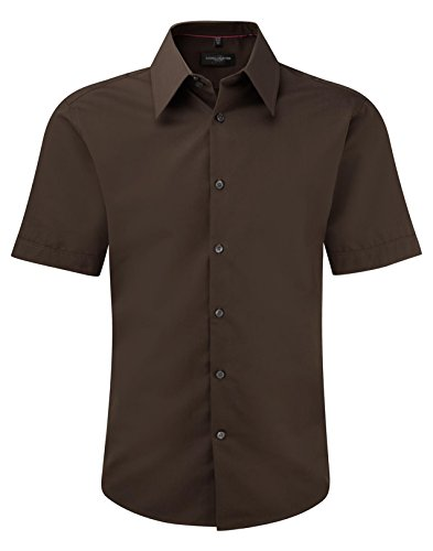 Russell Collection Short Sleeve Tencel?? Fitted Shirt M Chocolate