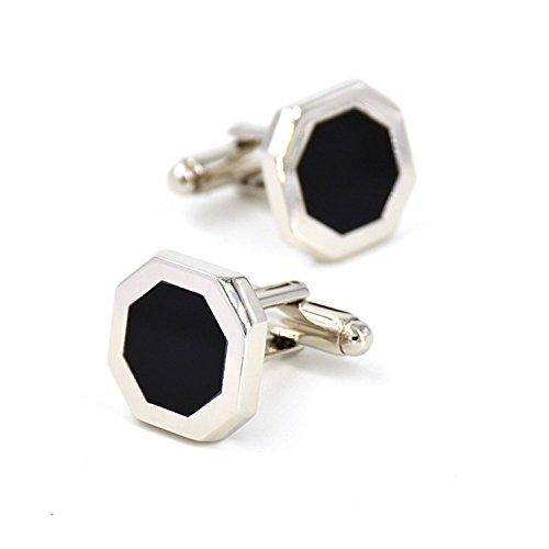 (Men's Rhodium Plated Cufflinks Inlay Black Onyx Wedding Business With A Cufflink Box With Presentation Gift)