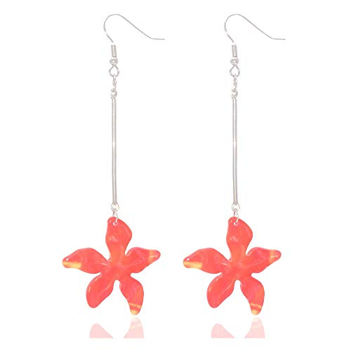 Dangle Earrings for Women Girls Stainless Steel Earrings with Resin Flower Statement Fashion Jewelry-Red Earrings