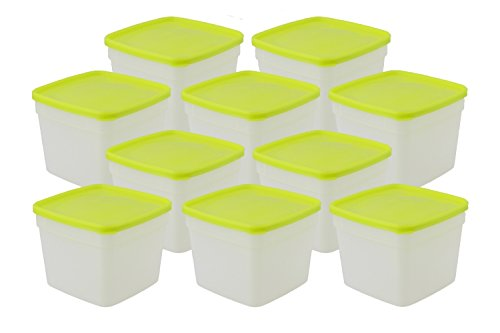 Arrow Freeze and Store Containers - 1 Pint, Set Of 10 Containers - Store, Refrigerate, Freeze and Reheat Foods (Arrow 1)