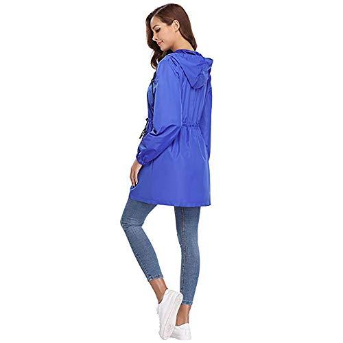 Grande Capuche Aux Veste vent Femmes Bleu Coupe Élastique Cardigan Manteau Toogoo À S Mini Décontractée Longues Dame Taille Vestes Poche Lacets Manches q0w7dnE4