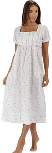 - The 1 for U 100% Cotton Short Sleeve Nightgown with Pockets - Lara (XL, Lilac Rose)