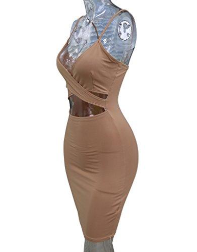 Cut Bandage Backless Sexy A1 Strap Bodycon Clubwear Dress Women Out Midi khaki for Doramode FXqZt1ww