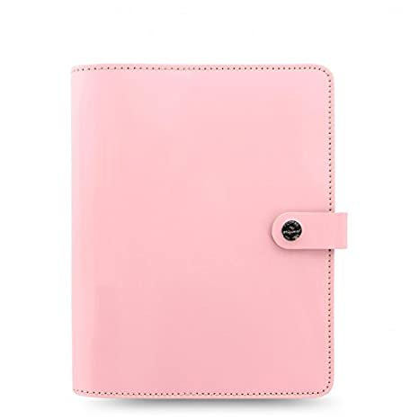 Filofax The Original A5 Size Leather Organizer Agenda Ring Binder Calendar with DiLoro Jot Pad Refills Patent Rose 022598