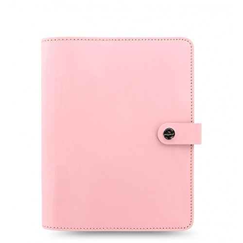 Filofax The Original A5 Size Leather Organizer Agenda Ring Binder Calendar with DiLoro Jot Pad Refills Patent Rose (Original Organizer Refills)