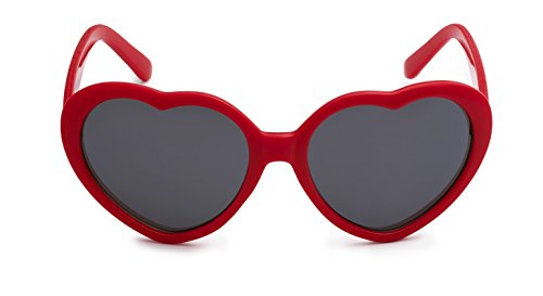 Eason Eyewear Girl's Heart Shaped Sunglasses 48 mm Red - Young Sunglasses