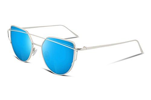 FEISEDY Cat Eye Mirrored Flat Lenses Metal Frame Women Sunglasses UV400 - Sunglasses Blue Eyes