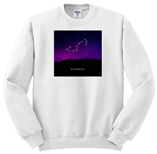 TDSwhite - Zodiac - Scorpio Constellation Night Sky Astrology Symbol Zodiac Horoscope Sign - Sweatshirts - Adult Sweatshirt 4XL ()