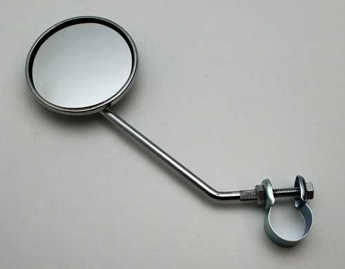 Fahrradspiegel mit Reflektor,Metall verchromt,Fahrrad Rück Strahler Spiegel,rund (LHS)