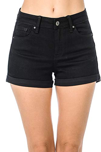 TwiinSisters Women's High Rise Butt Lift Slim Fitting Elastic Denim Shorts with Comfortable Stertch