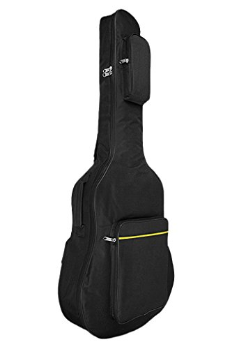 Classical Folk Guitar Case - 41 Inch Waterproof Dual Adjustable Shoulder Strap Acoustic Guitar Gig Bag 620D Oxford Padded Backpack 5mm Thickness, Zipper Carrying Case with Side Handle for Classical Folk Guitar
